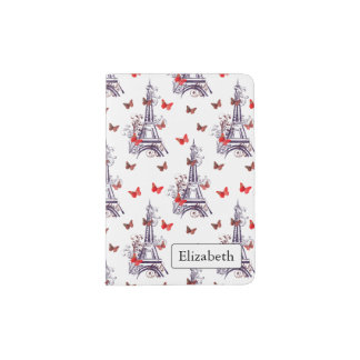 Parisian Romantic Purple Eiffel Tower Butterflies Passport Holder