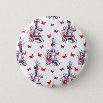 Parisian Romantic Purple Eiffel Tower Butterflies Pinback Button