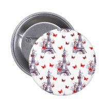 Parisian Romantic Purple Eiffel Tower Butterflies Pinback Button