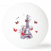 Parisian Romantic Purple Eiffel Tower Butterflies Ping Pong Ball