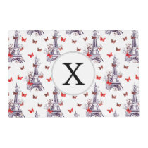 Parisian Romantic Purple Eiffel Tower Butterflies Placemat