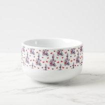 Parisian Romantic Purple Eiffel Tower Butterflies Soup Mug