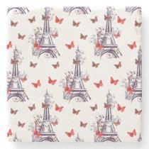 Parisian Romantic Purple Eiffel Tower Butterflies Stone Coaster