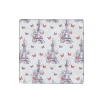 Parisian Romantic Purple Eiffel Tower Butterflies Stone Magnet