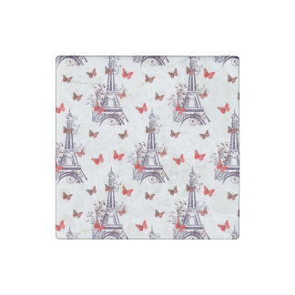 Parisian Romantic Purple Eiffel Tower Butterflies Stone Magnet