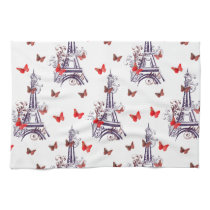Parisian Romantic Purple Eiffel Tower Butterflies Towel