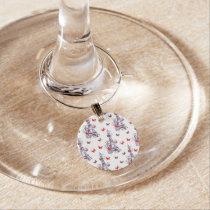 Parisian Romantic Purple Eiffel Tower Butterflies Wine Glass Charm