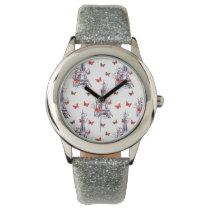 Parisian Romantic Purple Eiffel Tower Butterflies Wrist Watch