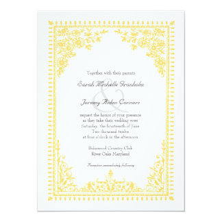Parisian Scroll Affordable Yellow Wedding Announcements