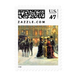 Parisian Style Christmas Postage Stamps