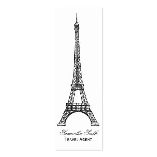 Parisian Theme Eiffel Tower Travel Agent Skinny Double-Sided Mini Business Cards (Pack Of 20)