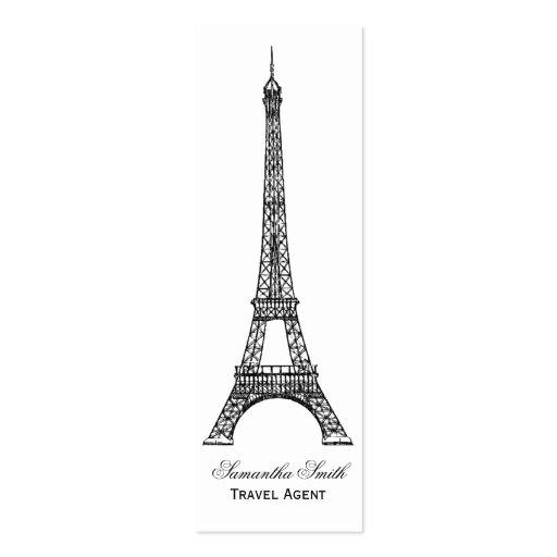 Parisian Theme Eiffel Tower Travel Agent Skinny Business Cards