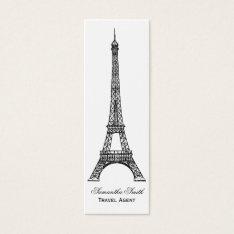 Parisian Theme Eiffel Tower Travel Agent Skinny Mini Business Card at Zazzle