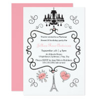 French birthday invitations announcements zazzle parisian themed 3x5 birthday party invitation stopboris Gallery