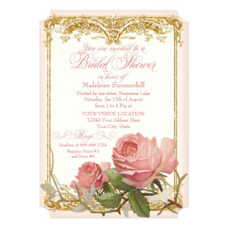 Parisian Vintage Rose Manor House Bridal Shower 5x7 Paper Invitation Card