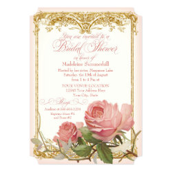 Parisian Vintage Rose Manor House Bridal Shower Card