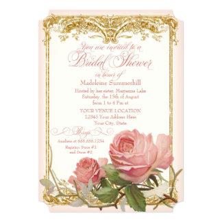 Parisian Vintage Rose Manor House Bridal Shower 5x7 Paper Invitation Card