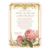 Parisian Vintage Rose Manor House Formal Wedding Invitation