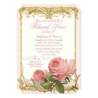 Parisian Vintage Rose Manor House Rehearsal Dinner Card