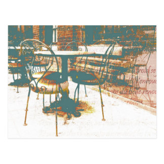 parisian vintage street cafe with script postcard