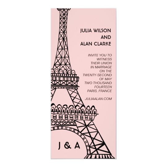 Eiffel Tower Wedding Invitations: Parisian Wedding Invitation Eiffel Tower Pink
