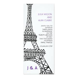 Parisian Wedding Invitation Purple Eiffel Tower