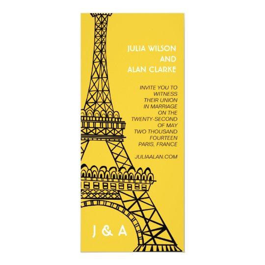 Parisian Wedding Invitation Yellow Eiffel Tower