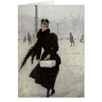Parisian woman in the Place de la Concorde Card