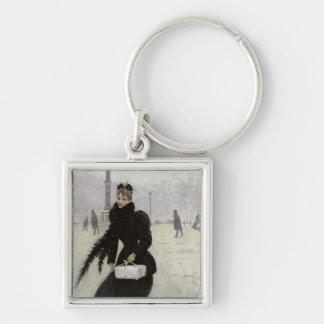 Parisian woman in the Place de la Concorde Keychains