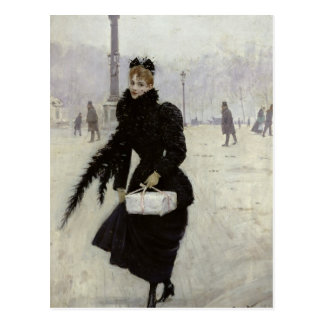 Parisian woman in the Place de la Concorde Postcard