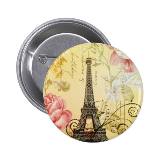 Parisian yellow floral Vintage Paris Eiffel Tower Button