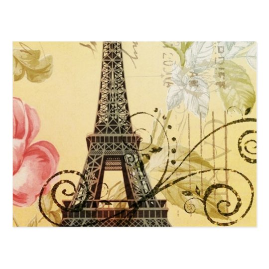 Parisian yellow floral Vintage Paris Eiffel Tower Postcard