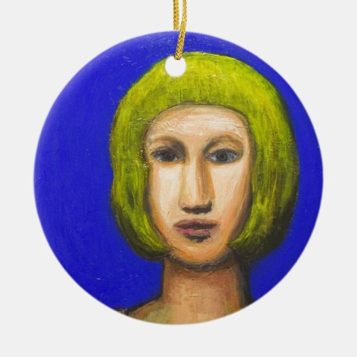 Parisienne with a bob haircut(naive expressionism) ceramic ornament