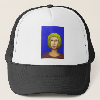 Parisienne with a bob haircut(naive expressionism) trucker hat