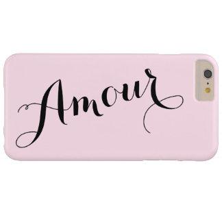 Parisiense elegante rosado y negro del amor funda para iPhone 6 plus barely there