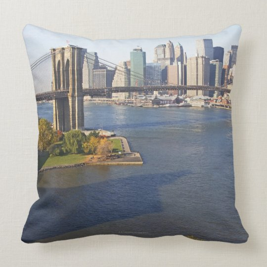 Park and Cityscape Throw Pillow
