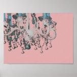 Park Avenue Chandelier ~ Print  Retro Pink
