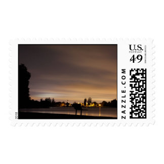 Park Bench at Night 1 Postage Stamps