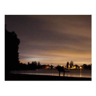 Park Bench at Night 1 Postcard
