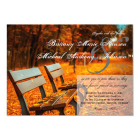 Park Bench Fall Leaves Wedding Invitations