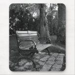 Park Bench in Black and White Mouse Pad