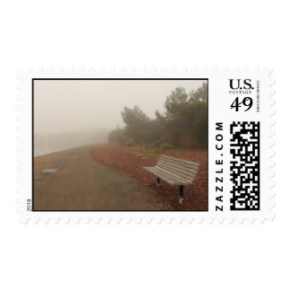 Park Bench in the Fog Postage Stamps