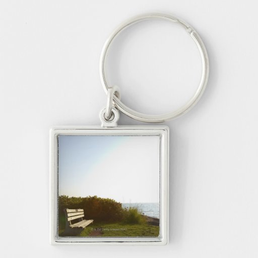 Park Bench Silver-Colored Square Keychain