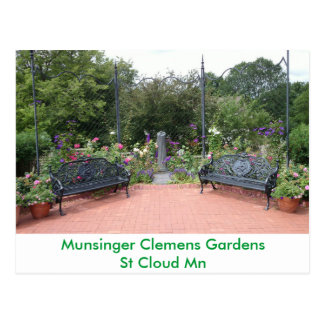 Park Benches in Munsinger Clemens Gardens Postcard
