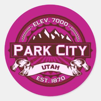 Park City Color Logo Raspberry Classic Round Sticker