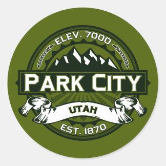 Park City Logo Olive Classic Round Sticker