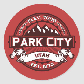Park City Logo Red Classic Round Sticker