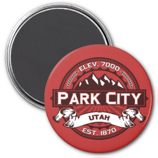 Park City Red 3 Inch Round Magnet