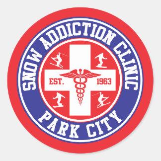 Park City Snow Addiction Clinic Classic Round Sticker