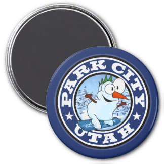 Park City Snowman Circle 3 Inch Round Magnet